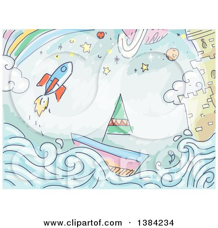 Clipart of a Sketched Background of a Rocket, Sailboat, Castle and Rainbow - Royalty Free Vector Illustration by BNP Design Studio
