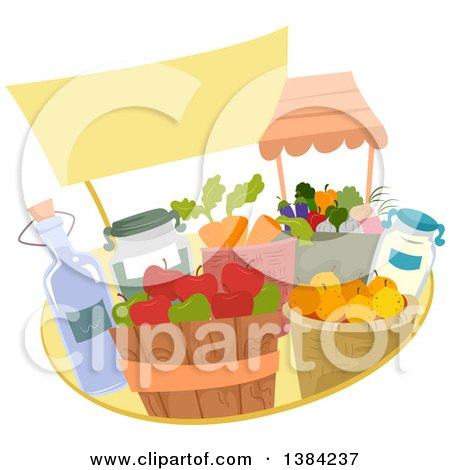 Clipart of a Blank Sign over Farmers Market Produce and Bushels - Royalty Free Vector Illustration by BNP Design Studio