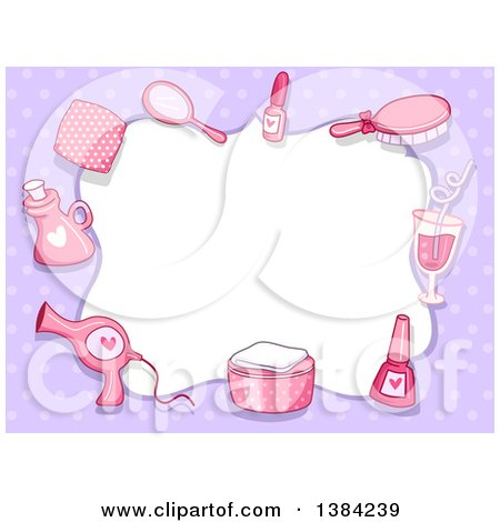 Clipart Of A Border Frame Of Pink Spa Accessories On Purple Polka Dots Royalty Free Vector Illustration