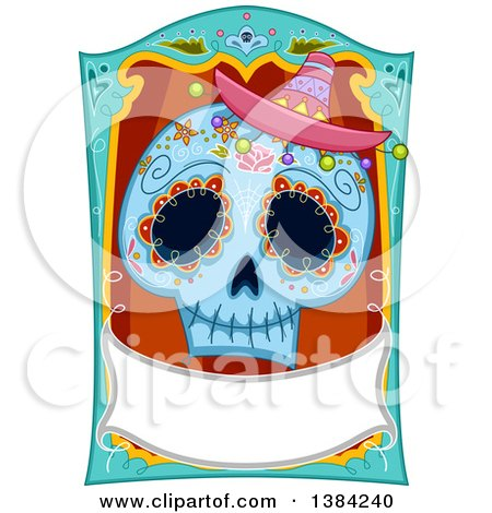 Clipart of a Sugar Skull with a Blank Banner - Royalty Free Vector Illustration by BNP Design Studio