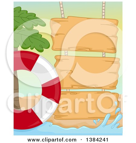 Clipart of a Wooden Signs on a Summer Beach with a Palm Tree and Life Buoy - Royalty Free Vector Illustration by BNP Design Studio