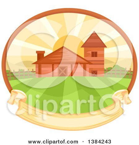 Clipart of a Farm and Fields at Sunrise in an Oval with a Blank Ribbon Banner - Royalty Free Vector Illustration by BNP Design Studio