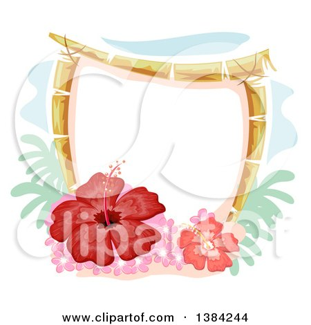 Clipart of a Bamboo Frame with Red Gumamela Hibiscus Flowers - Royalty Free Vector Illustration by BNP Design Studio