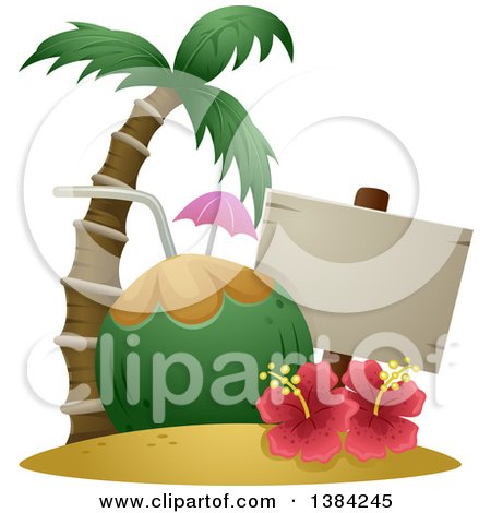 Clipart of a Blank Sign with a Giant Coconut Drink, Palm Tree and Hibiscus Gumamela Flowers - Royalty Free Vector Illustration by BNP Design Studio