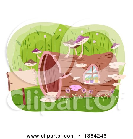 Clipart of a Hollow Log House with Mushrooms and a Sign - Royalty Free Vector Illustration by BNP Design Studio