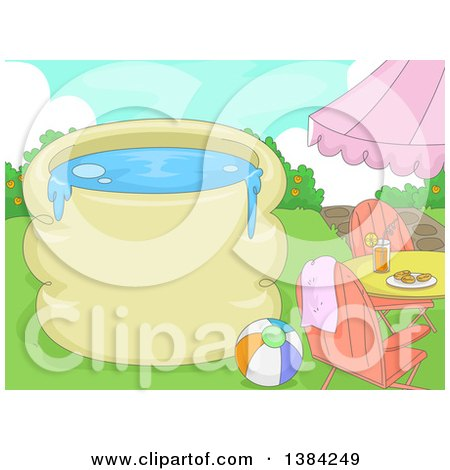 Clipart of a Swimming Pool with Text Space, a Table, Beach Ball and Chairs - Royalty Free Vector Illustration by BNP Design Studio