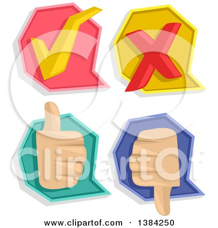 Clipart of Check Mark, X Mark, Thumb up and Thumb down Pass or Fail Icons - Royalty Free Vector Illustration by BNP Design Studio