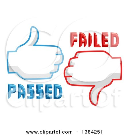 Clipart of Thumb up and Thumb down Passed and Failed Icons - Royalty Free Vector Illustration by BNP Design Studio