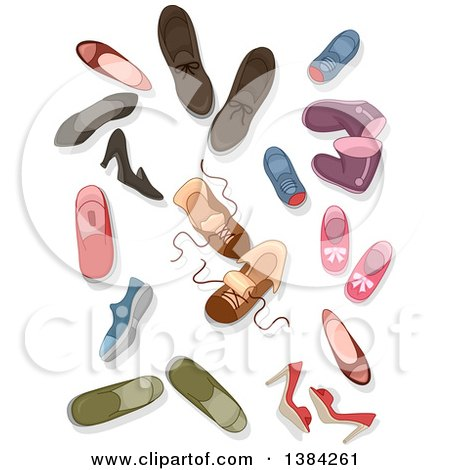 Clipart of Shoes, Boots, Sneakers and Heels - Royalty Free Vector Illustration by BNP Design Studio