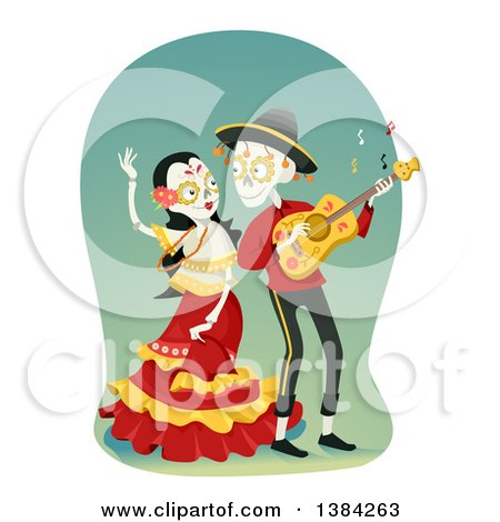 Sugar Skull Couple Dancing and Playing a Guitar Posters, Art Prints