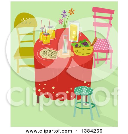 Clipart of a Whimsical Table Setting with Food and Drinks on Green - Royalty Free Vector Illustration by BNP Design Studio