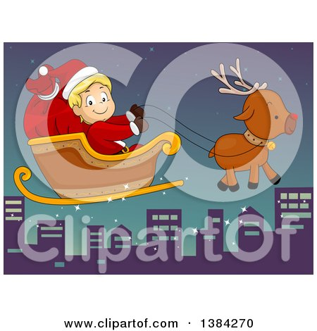 Clipart of a Happy White Santa Claus Boy Flying in a Magic Sleigh over a City - Royalty Free Vector Illustration by BNP Design Studio