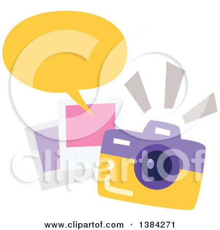 Clipart of a Camera with Snapshots and a Speech Balloon - Royalty Free Vector Illustration by BNP Design Studio