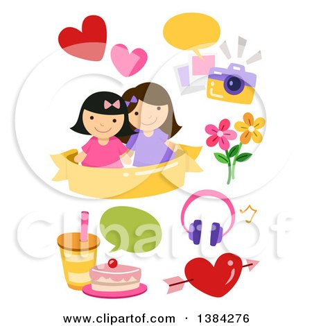 Clipart of Girl Best Friends with Picture, Food and Flower Design Elements - Royalty Free Vector Illustration by BNP Design Studio