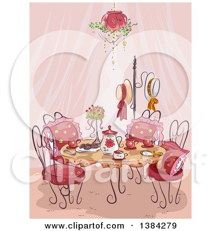 Clipart of a Fancy Party Table Setting with Pink Curtains - Royalty Free Vector Illustration by BNP Design Studio