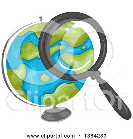 Clipart of a Magnifying Glass Searching over a Desk Globe - Royalty Free Vector Illustration by BNP Design Studio