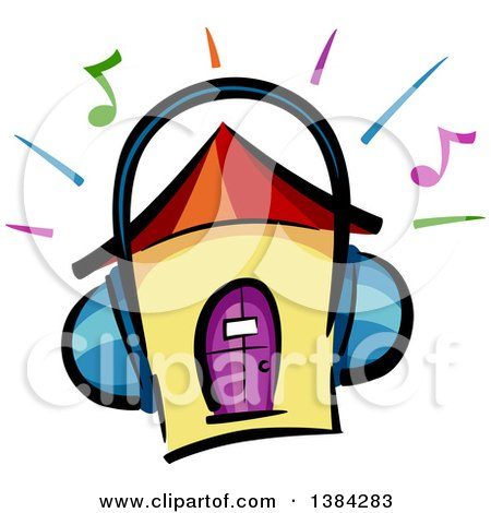 Clipart of a House Wearing Headphones, with Music Notes and Blaring Lines - Royalty Free Vector Illustration by BNP Design Studio