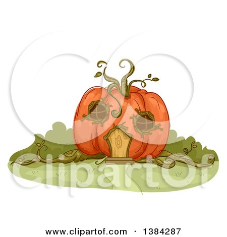 Clipart of a Pumpkin House with Vines and Windows - Royalty Free Vector Illustration by BNP Design Studio