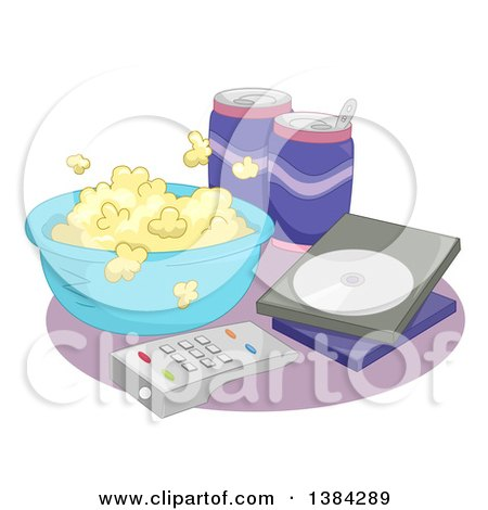 Clipart of a Bowl of Popcorn, Sodas, Dvd and Remote Control for a Movie Night at Home - Royalty Free Vector Illustration by BNP Design Studio