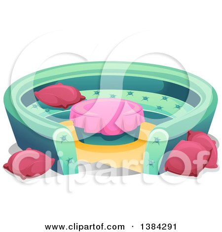 Clipart of a Round Conversation Pit Couch with Pillows - Royalty Free Vector Illustration by BNP Design Studio