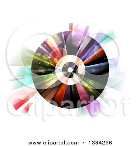 Clipart of a Vinyl Record with Colorful Lights and Flares - Royalty Free Vector Illustration by BNP Design Studio
