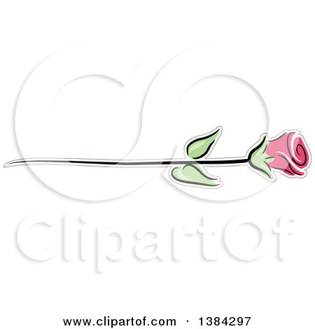 Clipart of a Pink Long Stemmed Rose - Royalty Free Vector Illustration by BNP Design Studio
