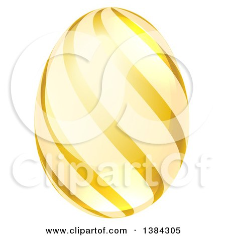 Clipart of a 3d Golden Easter Egg with Stripes - Royalty Free Vector Illustration by AtStockIllustration