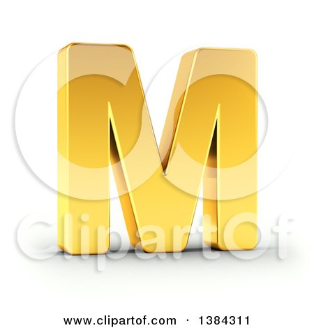 Clipart of a 3d Golden Capital Letter M, on a Shaded White Background, with Clipping Path - Royalty Free Illustration by stockillustrations