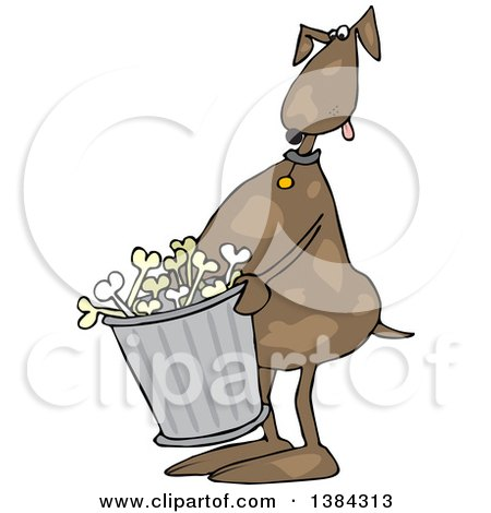Clipart of a Cartoon Brown Dog Carrying a Garbage Can of Bones - Royalty Free Vector Illustration by djart