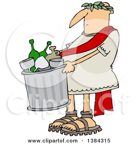 Clipart of a Cartoon Roman Man Carrying a Garbage Can Full of Bottles and Wine Glasses - Royalty Free Vector Illustration by djart