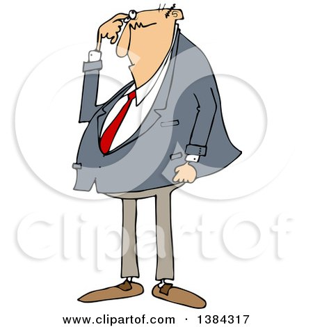 Clipart of a Cartoon Chubby Bald White Business Man Scratching His Head and Looking Puzzled - Royalty Free Vector Illustration by djart