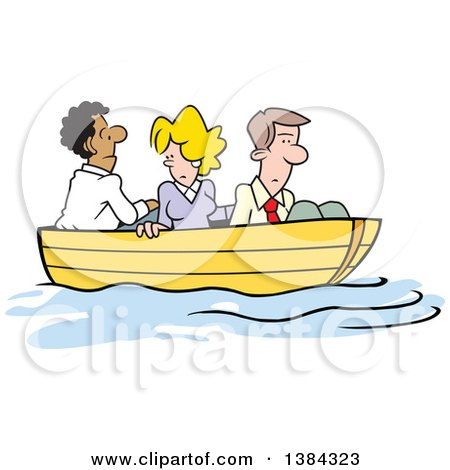 Clipart of a Cartoon Business Team All in the Same Boat, Stuck up a Creek Without a Paddle - Royalty Free Vector Illustration by Johnny Sajem