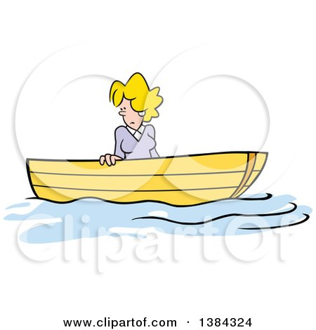 Clipart of a Cartoon Blond White Woman Stuck up a Creek Without a Paddle - Royalty Free Vector Illustration by Johnny Sajem