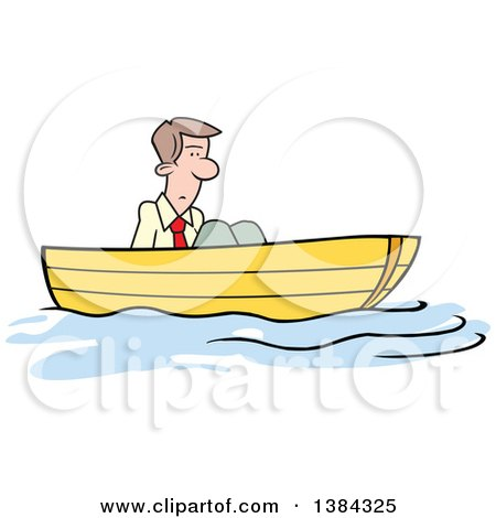 Clipart of a Cartoon Blond White Man Stuck up a Creek Without a Paddle - Royalty Free Vector Illustration by Johnny Sajem