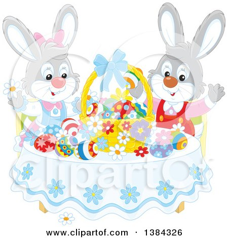 Clipart of Easter Bunny Rabbits Cheering at a Table with Eggs and a Basket - Royalty Free Vector Illustration by Alex Bannykh