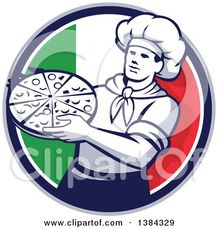 Clipart of a Retro Male Chef Holding a Pizza Pie in an Italian Flag Circle - Royalty Free Vector Illustration by patrimonio