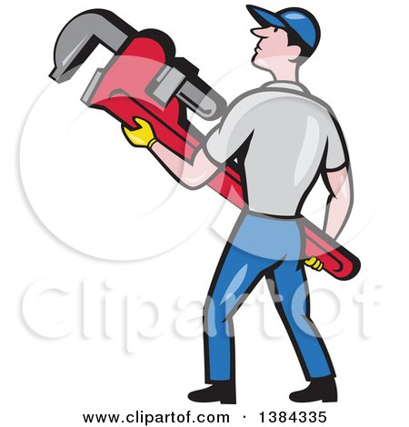 Clipart of a Retro Cartoon White Male Plumber Holding a Giant Monkey Wrench - Royalty Free Vector Illustration by patrimonio