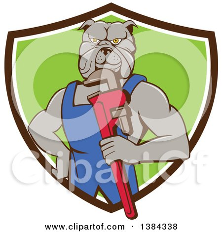 Clipart of a Muscular Bulldog Man Plumber Mascot Holding a Monkey Wrench and Emerging from a Brown White and Green Shield - Royalty Free Vector Illustration by patrimonio