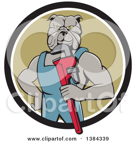 Clipart of a Muscular Bulldog Man Plumber Mascot Holding a Monkey Wrench and Emerging from a Black White and Green Circle - Royalty Free Vector Illustration by patrimonio