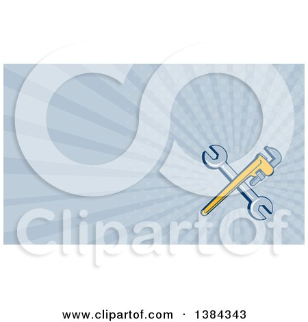 Retro Crossed Spanner and Monkey Wrenches and Blue Rays Background or Business Card Design Posters, Art Prints