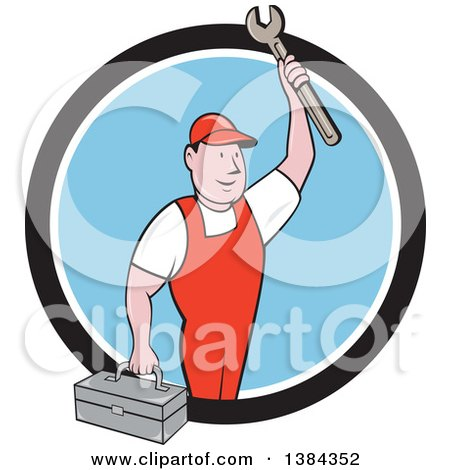 Clipart of a Retro Cartoon White Male Mechanic Holding a Tool Box and Wrench in a Black White and Blue Circle - Royalty Free Vector Illustration by patrimonio
