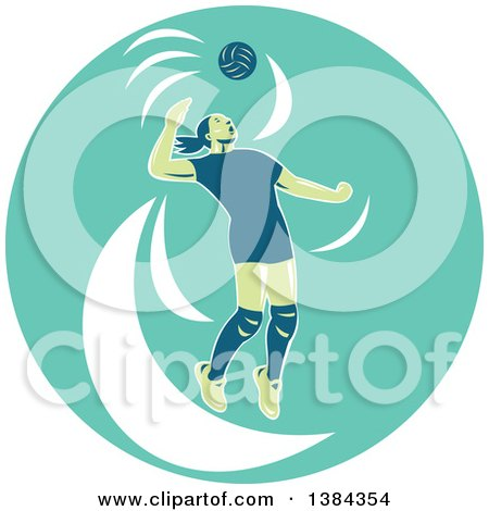 Clipart of a Retro Female Volleyball Player Jumping and Spiking the Ball in a Turquoise Oval - Royalty Free Vector Illustration by patrimonio