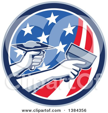 Clipart Of Hands Of A Retro Plasterer Repairing Drywall With Putty Knife And Hawk In An American Themed Circle Royalty Free Vector Illustration