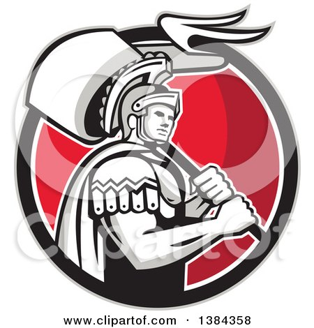 Clipart of a Retro Centurion Roman Soldier Carrying a Flag in a Gray Black White and Red Circle - Royalty Free Vector Illustration by patrimonio