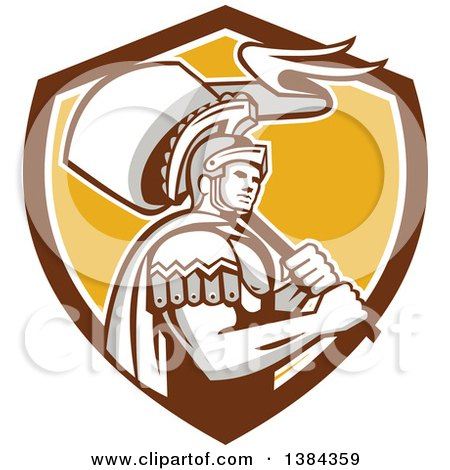 Clipart of a Retro Centurion Roman Soldier Carrying a Flag in a Brown White and Yellow Shield - Royalty Free Vector Illustration by patrimonio