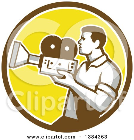 Clipart of a Profiled Retro Camera Man Filming in a Brown White and Yellow Circle - Royalty Free Vector Illustration by patrimonio