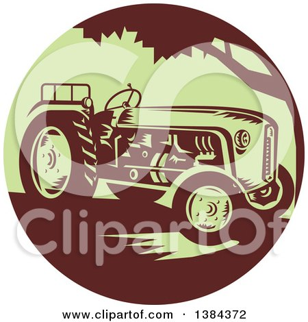 Clipart of a Retro Vintage Farm Tractor in a Brown and Green Circle - Royalty Free Vector Illustration by patrimonio