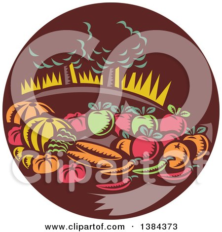 Clipart Of A Retro Woodcut Still Life Of Harvest Vegetables And Fruit With Trees In A Brown Circle Royalty Free Vector Illustration