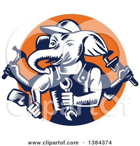 Retro Woodcut Ganesha Handy Man Elephant Holding Tools in an Orange Circle Posters, Art Prints