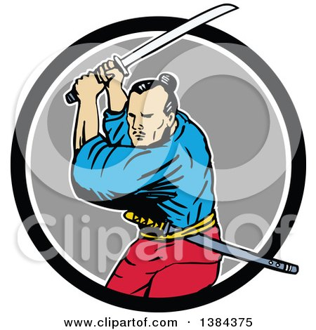 Clipart of a Sketched Samurai Warrior Fighting with a Katana Sword in a Black White and Gray Circle - Royalty Free Vector Illustration by patrimonio